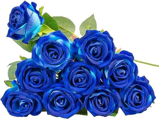 Amazon.com: Mumiko 10 Stems Long Stem Roses Artificial Flowers for ...