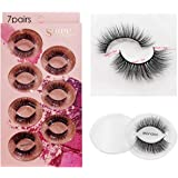 Wookit False Lashes 7 Styles Professional Reusable Eyelashes Natural Thick 3D Natural Look For Makeup Eyelashes Extension (7 Pairs)-Mon.