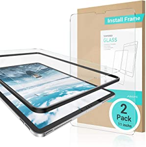 【INSTALL FRAME】iPad Pro 11 in Screen Protector 2 PACK(2020 & 2018) iPad Pro 11 Tempered Glass Face ID Ultra Sensitive Anti-Finger Print Scratch iPad Screen Protector 11 inch Compatible with iPad Pencil