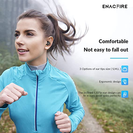 ENACFIRE Wireless Headphones, Future Bluetooth Headphones 4H Playtime Deep Bass Stereo Sound 15-20m Bluetooth Range V5.0 True Wireless Earphones Earbuds With Mic, Elegant Portable Charging Case