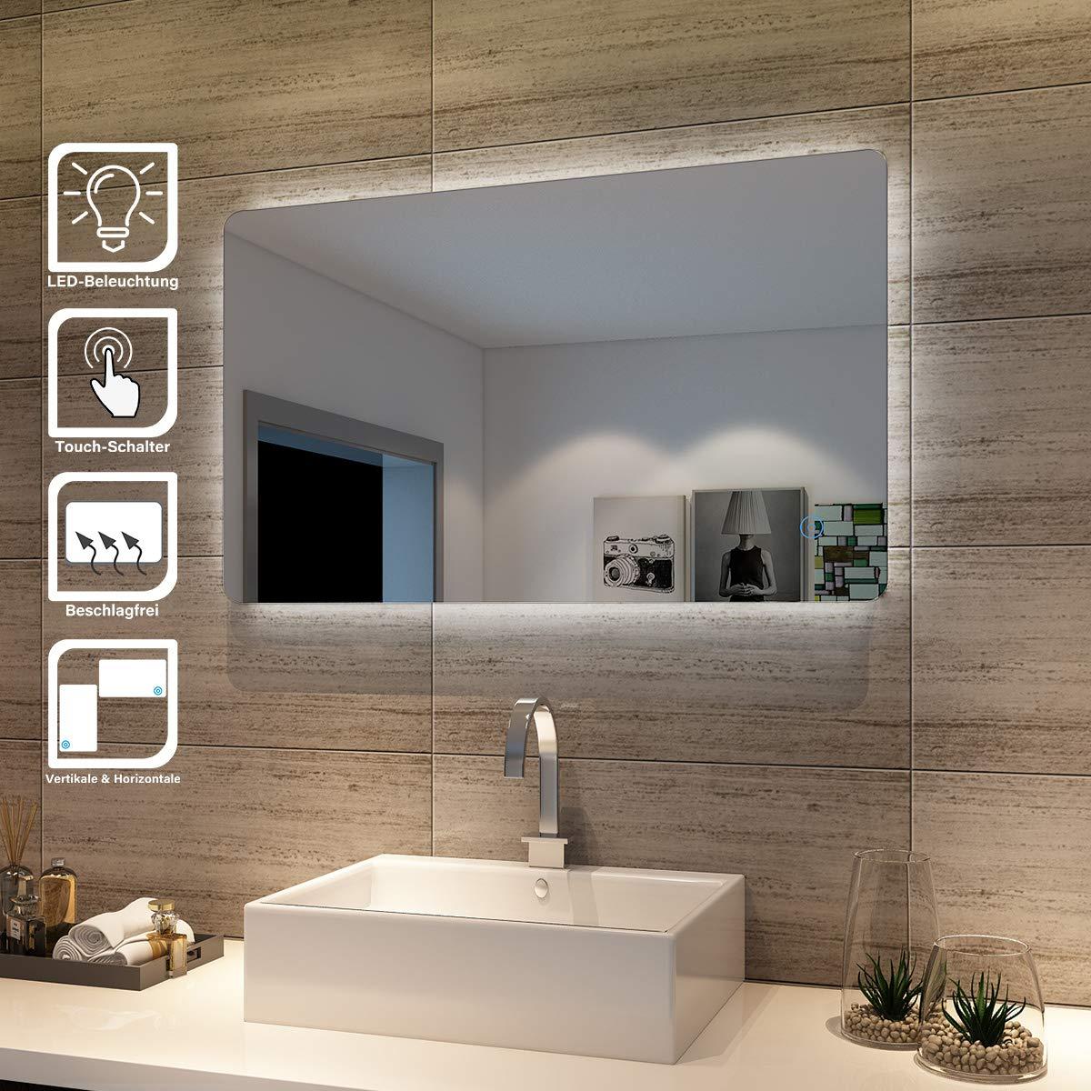 UHR MAKEUP SPIEGEL 77 Badspiegel mit LED Beleuchtung Lichtspiegel mit SCHALTER