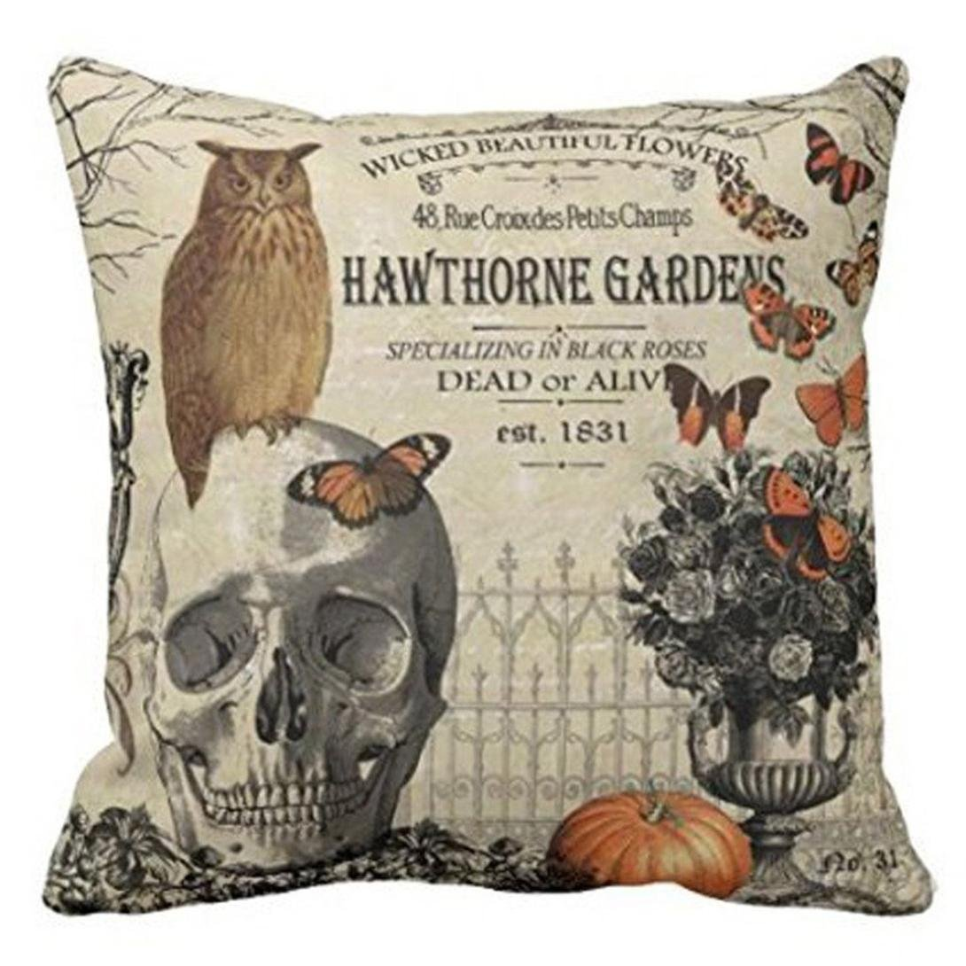 Halloween Pillow Cases, SUPPION Happy Halloween Pillow Cases Linen Sofa Cushion Cover Home Decor(6 Kinds of Patterns) (A)
