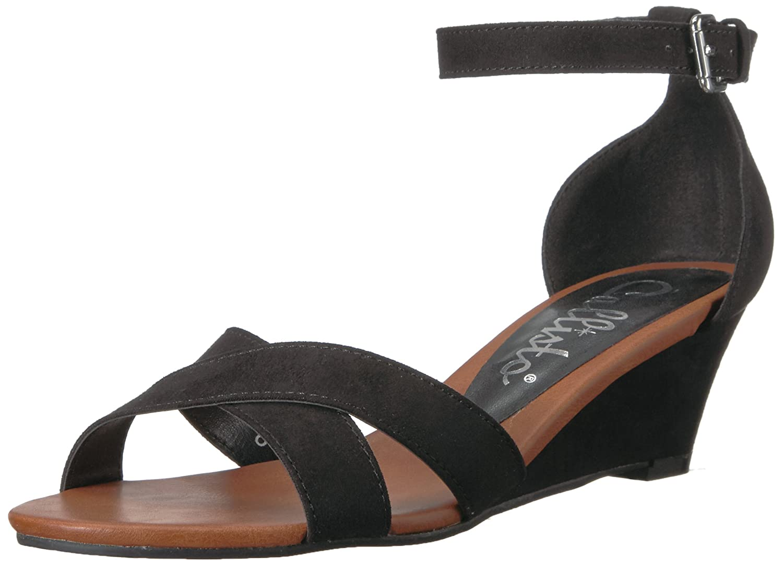 Callisto Women's Strobe Wedge Sandal B079JC7T79 10 B(M) US|Black Suede