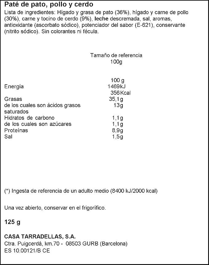 Patés - paté de pato Casa Tarradellas, 125 g: Amazon.es ...