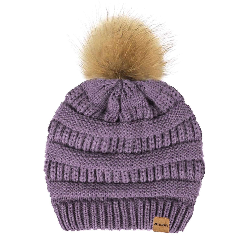 Grape Beanie Hats for women with Pom Pom  Warm, Soft Knit Beanie, Thick Slouchy Knit Skull Cap