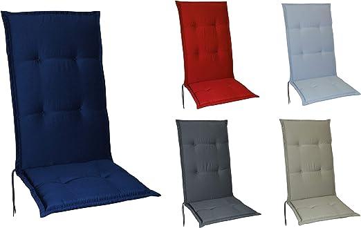 Schwar Textilien - Cojines para sillas de jardín con respaldo alto, 5 colores, azul oscuro: Amazon.es: Jardín