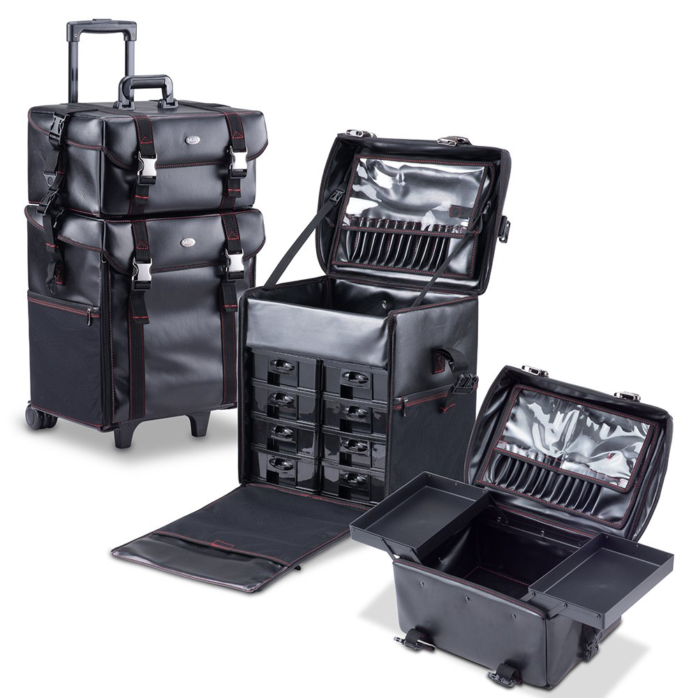 MUA LIMITED 2 in 1 Pro Makeup Artist Case on Wheels, Multifunction Cosmetic Organizer with Removable Drawers, Beauty Trolley, Soft Case with PREMIUM Buckles, ULTIMATE Series - Black Leather by MUA Limited