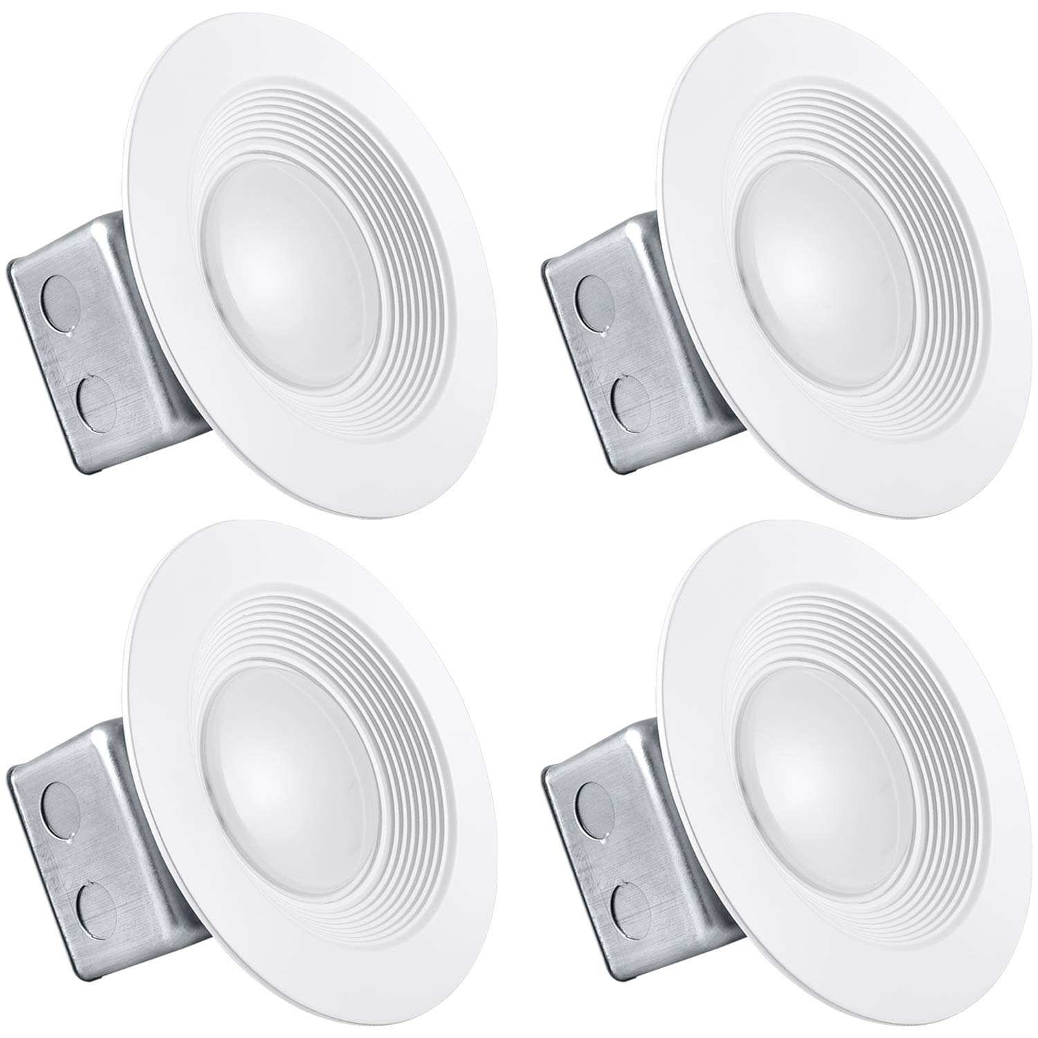 Luxrite 5/6 Inch LED Recessed Light with Junction Box, 15W, 4000K Cool White, Dimmable Airtight Downlight, 1050 Lumens, Energy Star, IC & Wet Rated, 120V - 277V, Recessed Lighting Kit (4 Pack)