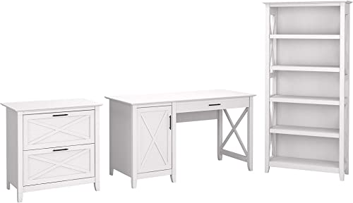 Bush Furniture Key West 54W Computer Desk with 2 Drawer Lateral File Cabinet and 5 Shelf Bookcase, Pure White Oak