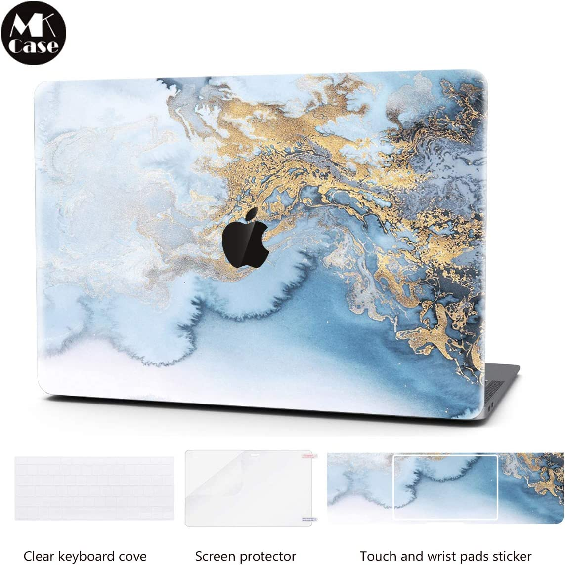 Laptop Case for MacBook Pro 13 Inch Keyboard Cover Plastic Hard Shell Touch Bar with Screen Protector for Mac Pro 13 Inch (Model:A1706/A1708/A1989),Golden Blue Abstract Marble