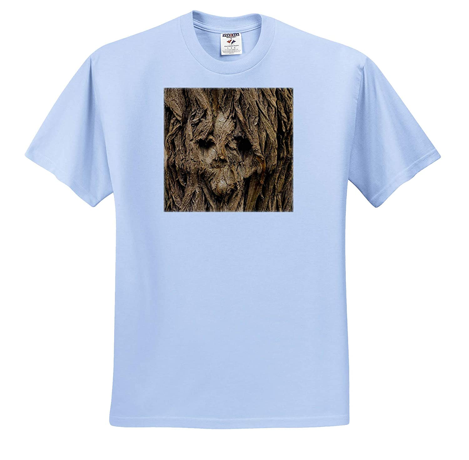 Image of Human Face On Textured Tree Weathered Woods 3dRose Lens Art by Florene ts/_316012 Adult T-Shirt XL