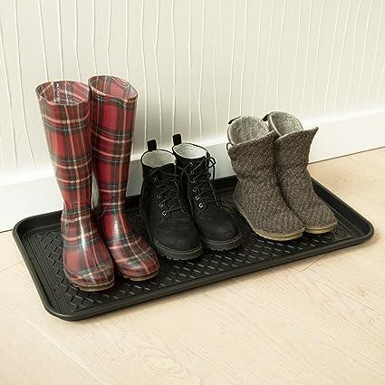 Navaris 3X bac Chaussures XL bac /égouttoir Chaussures Noir pour Chaussures Pluie Neige Automne Hiver /Égouttoir Chaussures 76x38x3cm avec Rebord