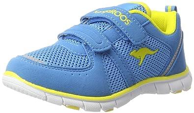 KangaROOS Unisex-Kinder Nara Sneaker, Blau (Blue/Acid Yellow), 35 EU