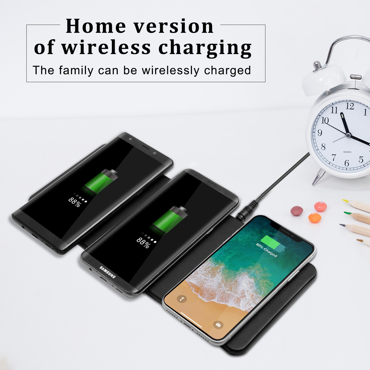 Qi Triple Wireless Charger Station,JE 3 Devices Multi Wireless Charger Pad,Desktop Charging Station for iPhone X, iPhone 8/8Plus, Samsung Galaxy S8+ S7/S7 Edge Note 8/5, Nexus 5/6/7& all QI-Enabled … by JE (Image #8)