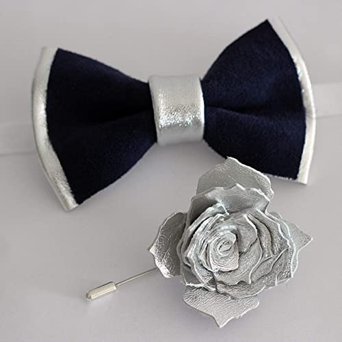b44bf38e064ef Silver and navy bow tie and lapel flower set for men,rose gold boutonniere,  pretied genuine leather bowtie, wedding prom boys, lapel flower set, ...
