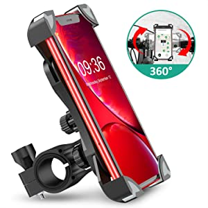 Bovon Anti-Shake Bike Phone Mount, 360° Rotation Universal Bicycle Motorcycle Phone Mount Holder Stand Cradle Clamp for iPhone X/XR/XS MAX/8/7/6 Plus, Samsung Galaxy S10/S10e/S10/S9 Plus