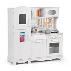 Play Kitchen for Toddlers – Kitchen Toys Playset for Kids – Pretend Play Cooking Set with Accessories – Ultra-Realistic Vintage Design Wood – Includes Ice Maker, Oven, Stove, Cabinets