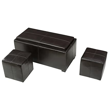 Remarkable Great Deal Furniture 296829 August Brown 3 Piece Leather Tray Top Nested Storage Ottoman Bench Uwap Interior Chair Design Uwaporg