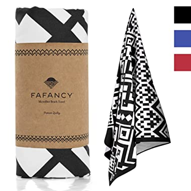 FAFANCY Microfiber Beach Towel - Oversized Quick Dry Sand-Free Absorbent Beach Towels for Kids and Adults - Best Lightweight Thin Towels for Swimming Pool, Camping, Vacation - Extra Large 63x35