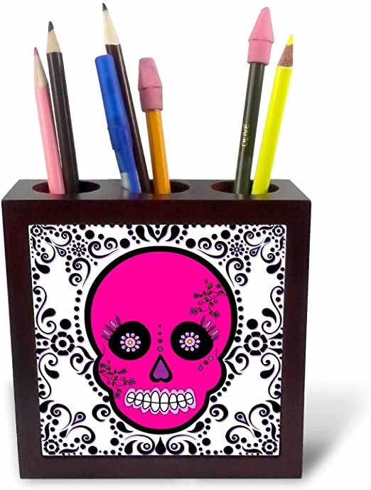 5-Inch 3dRose ph/_28871/_1 Day of The Dead Skull Dia De Los Muertos Sugar Skull Pink White Black Scroll Design-Tile Pen Holder