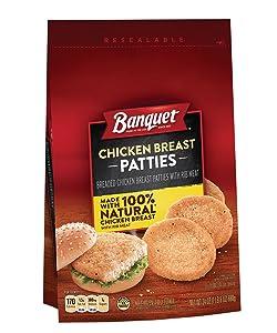 BANQUET Frozen Chicken Breast Patties Made With 100% Natural White Meat Chicken, 24 oz.