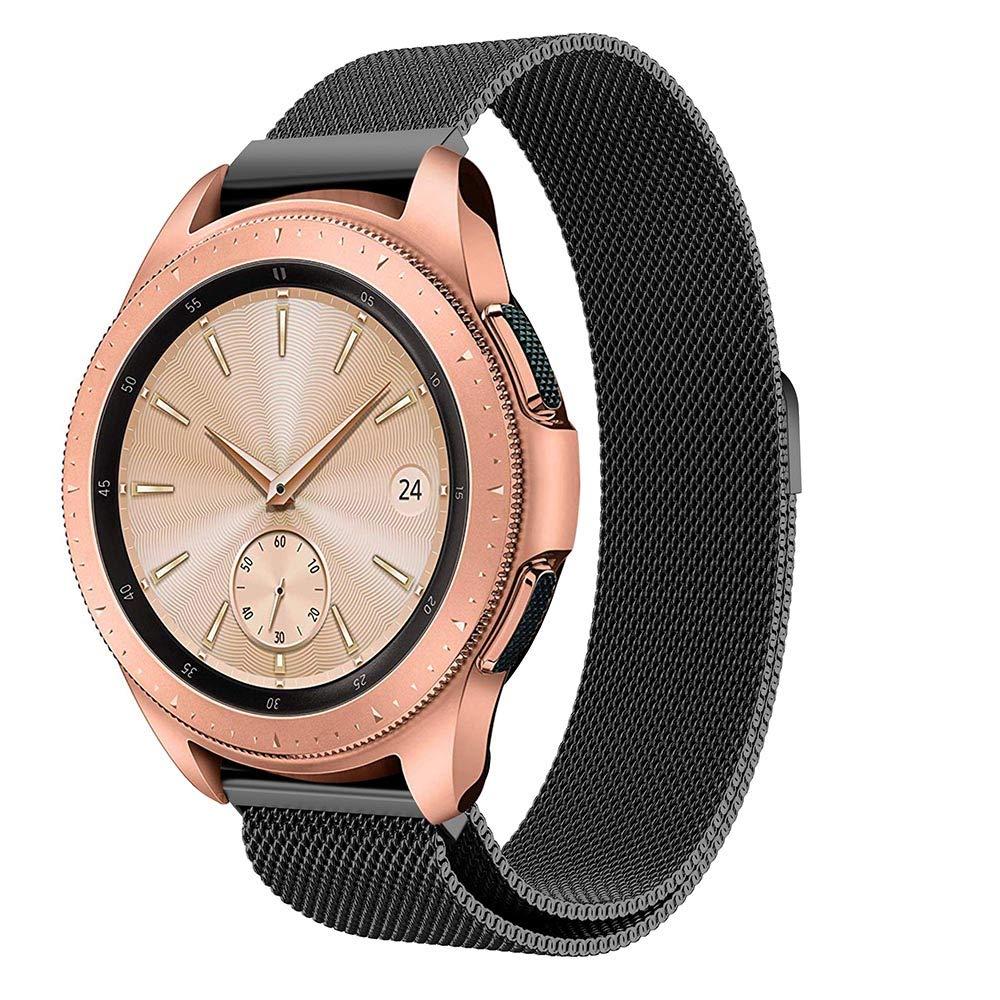 Feskio - Correa de Repuesto para Reloj Samsung Galaxy Watch (42 mm, Acero Inoxidable, Cierre magnético), diseño de Lazo milanés
