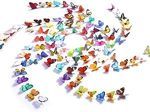 Kakuu Butterfly Wall Decals 99Pcs 3D Butterflies Wall Stickers Removable, Mural Decor for Kids Room Bedroom Decor Living Room Decor …