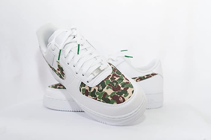 277a2750b7a7 Amazon.com  Nike Air Force 1 AF1 Custom Bathing Ape Bape Camo Edition   Handmade