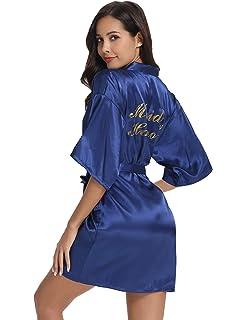 Vlazom Women s Satin Robe Short Kimono for Bride   Bridesmaid Wedding Party  Robes with Gold Glitter f09483d54