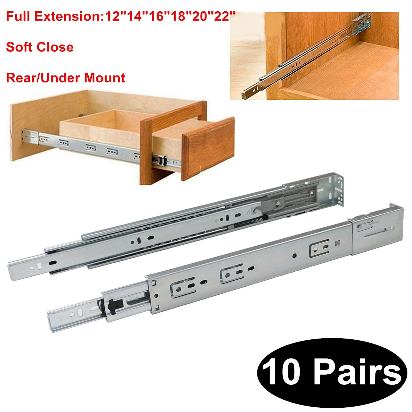 10 Pairs Soft Close Rear/Under Mount Drawer Slides Glides DHH32-16 inch Full Extension 3-Folds Ball Bearing;100-pound Capacity