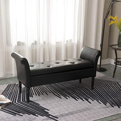 Modern PU Leather Storage Ottoman Bench Tufted Bed Bench