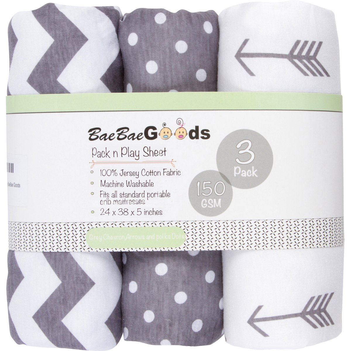 BaeBae Goods Jersey Cotton Fitted Pack n Play Playard Portable Crib Sheets Set | Grey and White | 150 GSM | 100% Cotton | 3 Pack BaeBae & Company