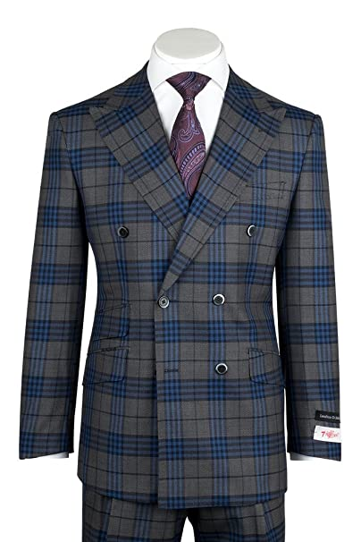 Men's Vintage Style Suits, Classic Suits Tiglio Rosso EST Gray Blue Windowpane/Plaid Wide Leg Pure Wool Suit 261313/5 $399.00 AT vintagedancer.com