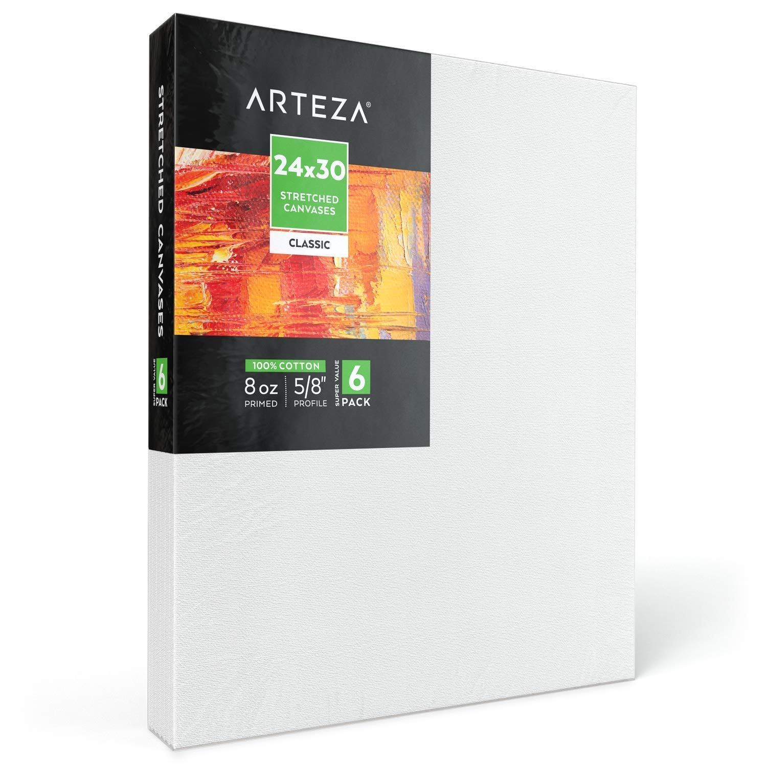 """Arteza 24x30"""" Stretched White Blank Canvas, Bulk Pack of 6, Primed, 100% Cotton for Painting, Acrylic Pouring, Oil Paint & Wet Art Media, Canvases for Professional Artist, Hobby Painters & Beginner"""