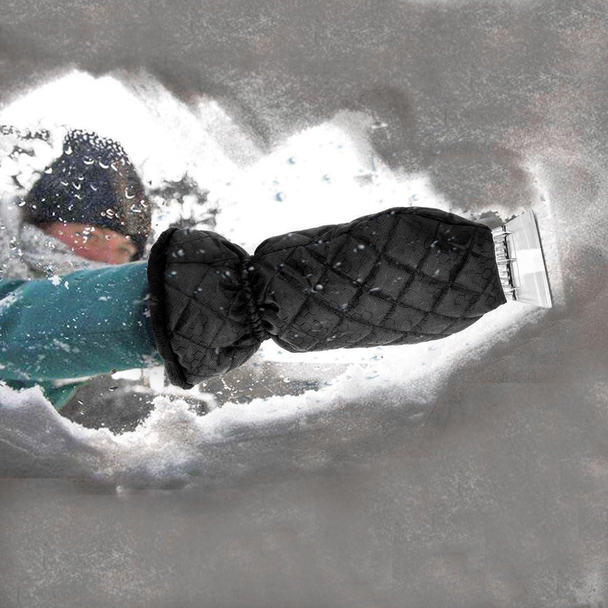 MATCC Ice Scraper Mitt Windshield Snow Scrapers with Waterproof Snow Remover Glove Lined of Thick Fleece Black