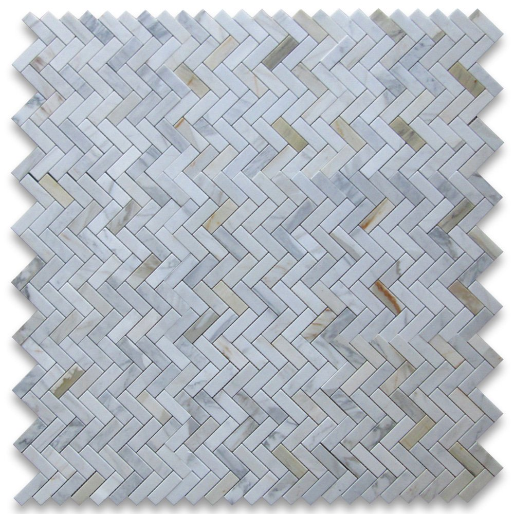 Calacatta Gold Italian Calcutta Marble Herringbone Mosaic Tile 1 x 3 ...