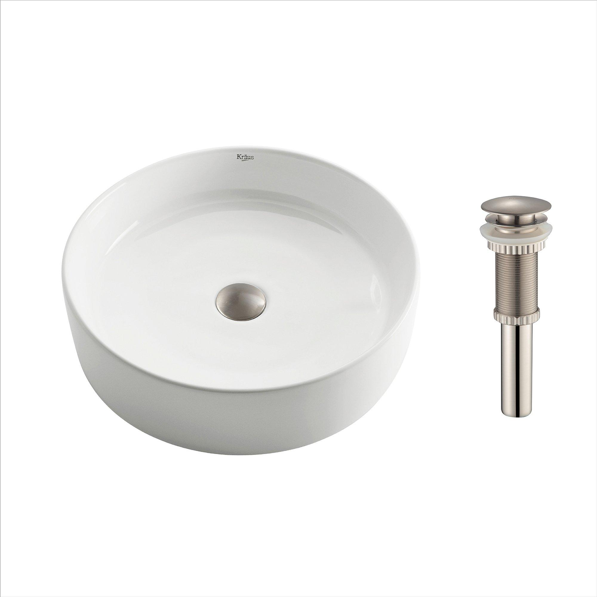 Kraus KCV-140-SN White Round Ceramic Bathroom Sink with Pop Up Drain Satin Nickel