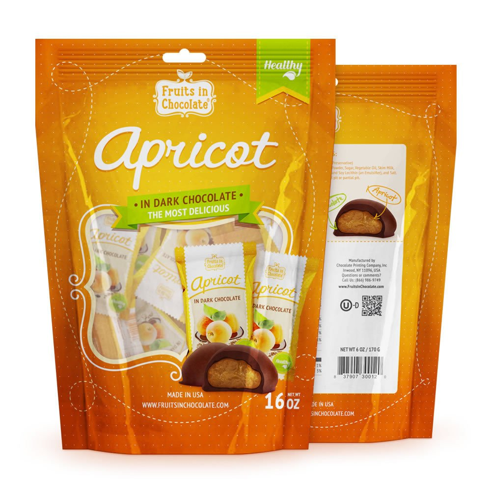 Dark Chocolate Covered Apricots, 16 Oz Bag by Fruits in Chocolate