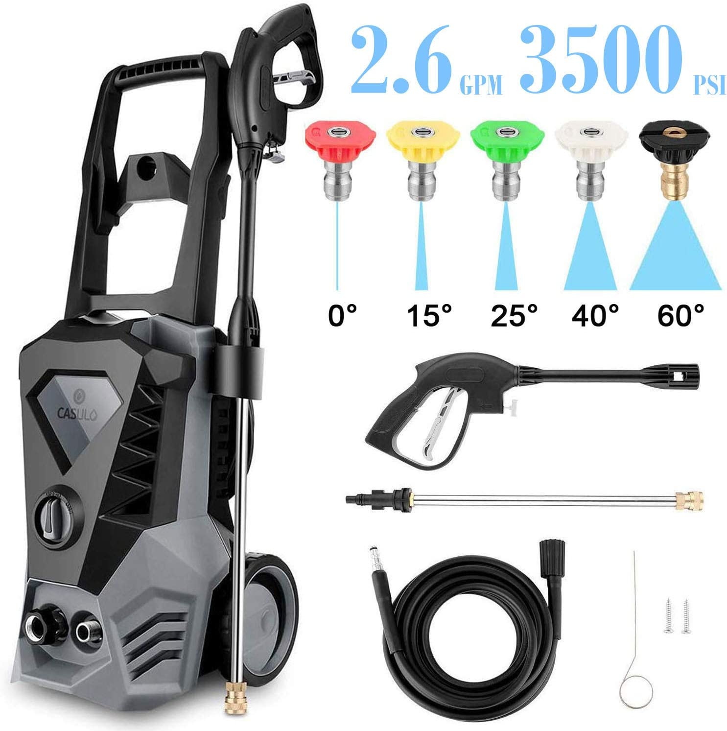 ROOJER High Pressure Washer 3500 Max PSI 2.6 GPM Electric Car Pressure Washer, 32 ft Cable and 5 Quick-Connect Spray Tips for Home Garden (US Stock) (Grey)