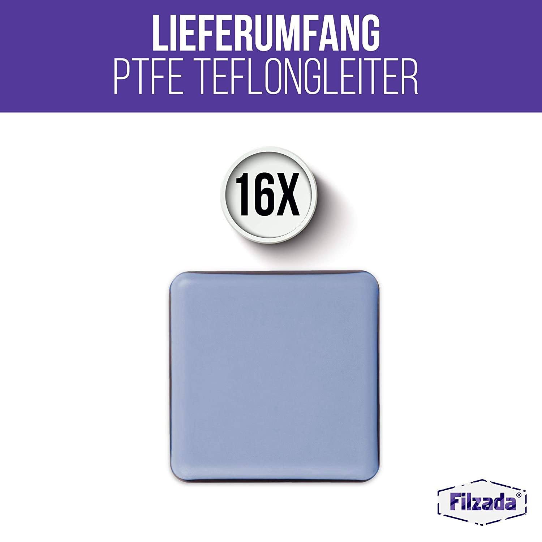 - Profi M/öbelgleiter//Teppichgleiter PTFE 35 x 35 mm eckig Filzada/® 16x Teflongleiter Selbstklebend Teflon