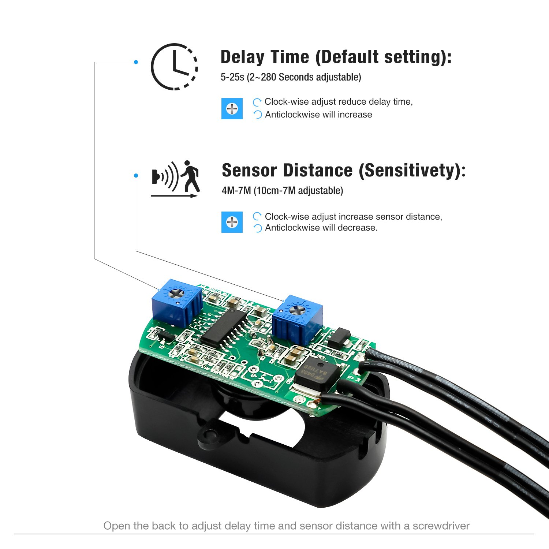 Sensky Bs010 12v 24v 3a Pir Motion Sensor Long Distance Time Microcontroller Based Diy Project For Power Saving Using Adjustable Small Senser Switch White Cover And Lens Black
