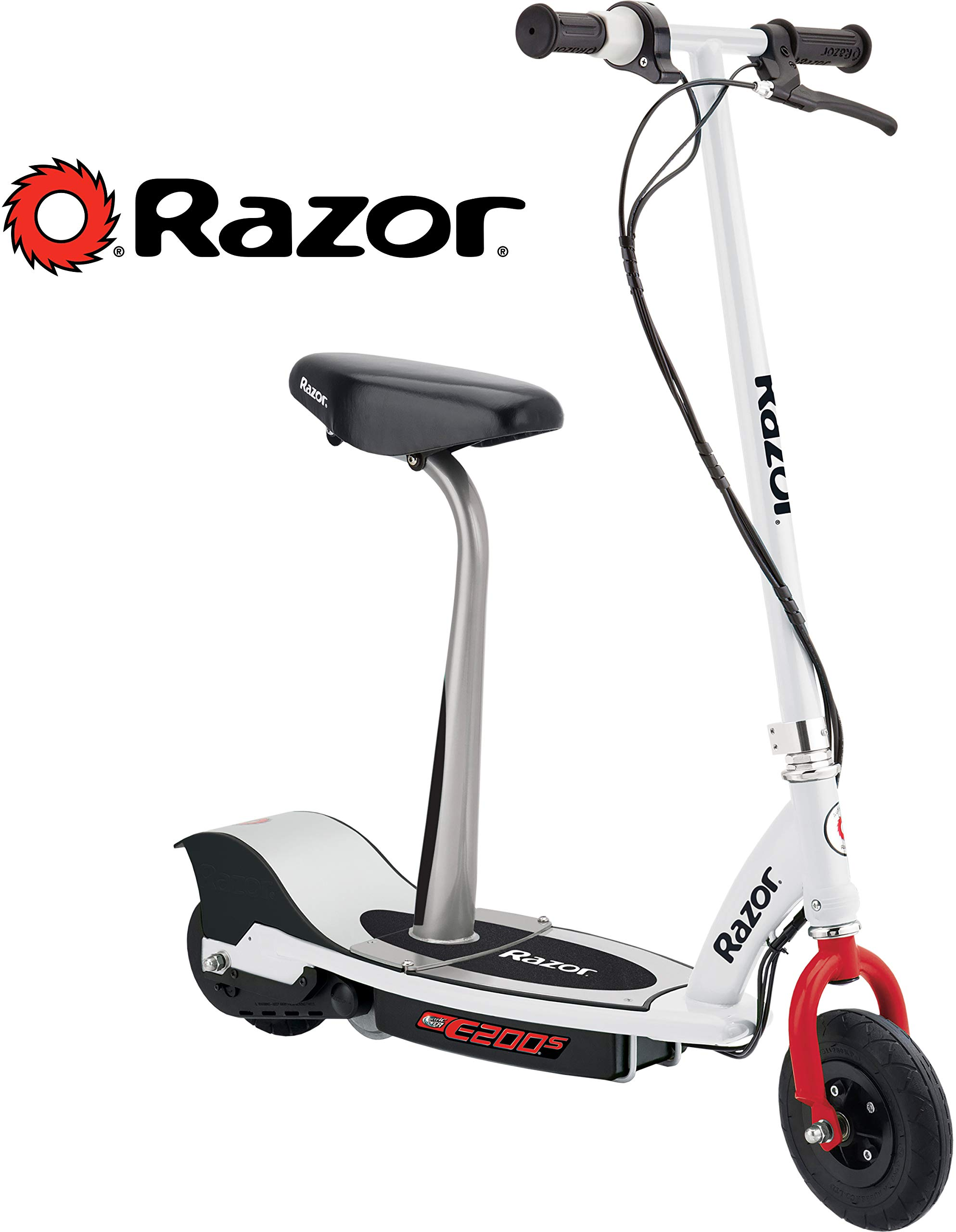 Razor E200S Seated Electric Scooter - White/Red by Razor