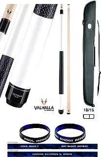product image for Valhalla by Viking 2 Piece Pool Cue Stick White VA118 Irish Linen Wrap 18-21 oz. Plus Cue Case & Bracelet (White VA118, 19)