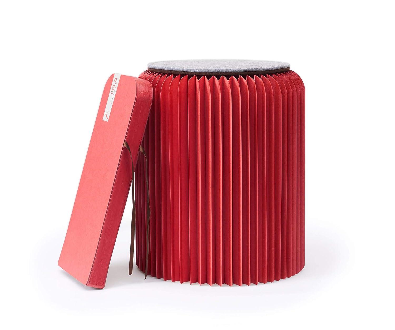 FOLD CONCEPT Faltbarer Papier Hocker Papphocker mit Sitzauflage | Innovativ & Multifunktional | brauner Karton | Recyclebar & Umweltfreundlich | Ideal für Wohnzimmer, Arbeitszimmer & Kinderzimmer | Falthocker (Rot, 42cm)