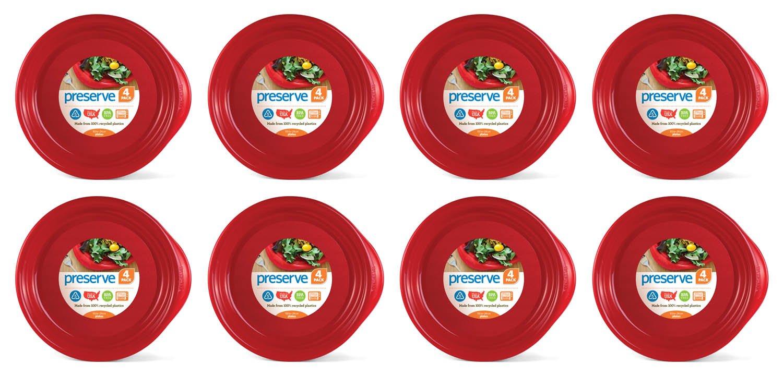 Preserve Set of 32 Everyday Plates, 9-1/2-Inch, Orange 20107cs