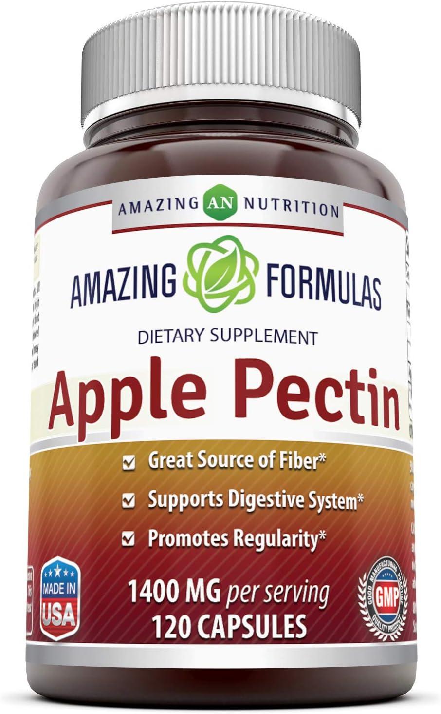 Amazing Formulas Apple Pectin Dietary Supplement - 1400 mg per Serving of 2 Capsules- 120 Capsules Per Bottle - Good Source of Fiber, Promotes Digestive Health, Promotes Regularity*