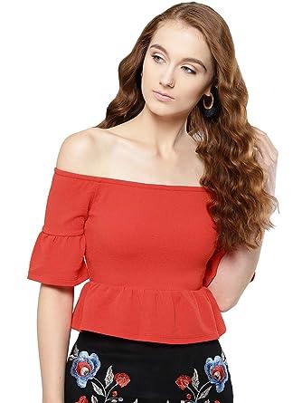 9de9ae8aad4013 Veni VIDI VICI Red Frilled Bardot Crop Top  Amazon.in  Clothing ...