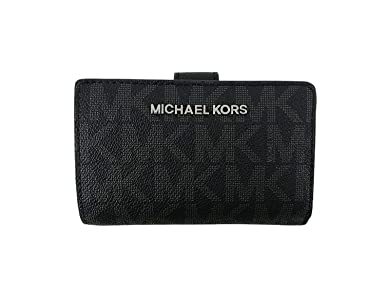Michael Kors Damen Geldbörse, schwarz mit MK Logo 3x8x13 cm, Echtes Leder, JET SET TRAVEL