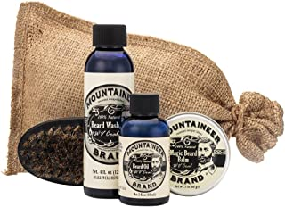 product image for Beard Grooming Care Kit for Men by Mountaineer Brand | Beard Oil (2oz), Conditioning Balm (2oz), Wash (4oz), Brush (WV Coal)
