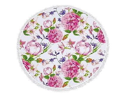Yyanliii Puede enorgullecerse de su Patrones de Flores Rosadas Impreso Ronda Toalla de Playa con borlas